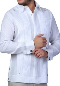 Wedding French Cuff Linen Guayabera. White Color. Back Orders or Demand.