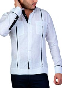 Detail in the Pleats. Two Pockets Guayabera with Cuff Print Feature. Groomsmen. White/Black Color. Back Orders or Demand.