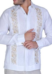 Guayabera Embroidered Big Events and  Weddings. Linen 100 %. French Cuff. White/Gold Color. Back Orders or Demand.