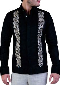 Exquisite Embroidery Linen Guayabera. French Cuff. Black Color. Back Orders or Demand.