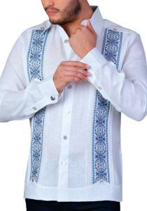Deluxe Embroidery Guayabera. Linen 100 %. Elegant Guayabera for Destination Wedding. Back Orders or Demand.