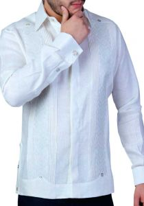 Exquisite Wedding French Cuff Guayabera. 100% Linen. Embroidered. Back Orders or Demand.