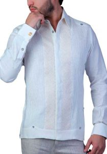 Exquisite Guayabera Wedding French Cuff Guayabera. Linen. Embroidery Beige. Ivory Color. Back Orders or Demand.