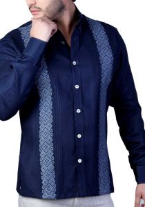 Deluxe Embroidery Guayabera. Elegant Guayabera for Destination Wedding. Linen 100 %. Navy & Gray. Back Orders or Demand.