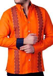 Two Colors Embroidery. Casual Finest Linen Shirt. Bright Color Guayabera. Linen 100 %. Orange Color. Back Orders or Demand.