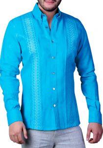 Exquisite Embroidery Guayabera. Linen 100 %. Aqua Color. Back Orders or Demand.