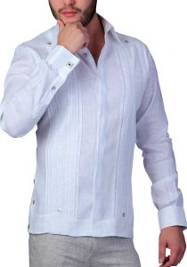 Exquisite  Wedding French Cuff Guayabera. Linen. Embroidered. Back Orders or Demand.