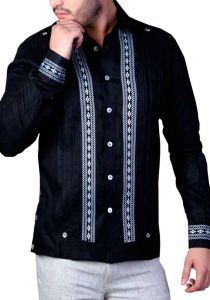 Elegant and Novel style. Shirt with finest embroidered details. Linen 100 %. Black Color. Slim Fit. Back Orders or Demand.