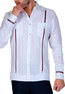 Linen Shirt Guayabera Long Sleeves. Two pockets. Details Print. White/Red Color. Back Orders or Demand.