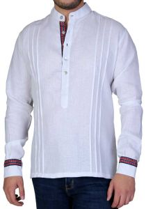 Chinese Collar Shirt. Collar - MAO. 100 % Linen. Details Print. White Color. Back Orders or Demand.