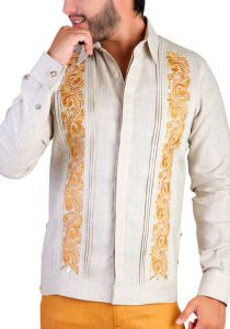 Guayabera Embroidered Big Events and  Weddings. Linen 100 %. French Cuff. Beige/Ocher Color. Back Orders or Demand.