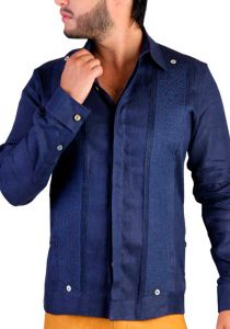Exquisite Wedding French Cuff Guayabera. Linen. Embroidered. Navy Blue Color. Back Orders or Demand.