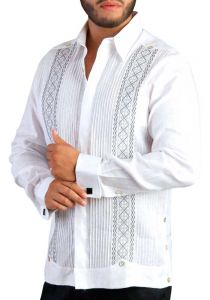 Deluxe Embroidery Silver Gray. Elegant Guayabera for Destination Wedding. White Color. Back Orders or Demand.