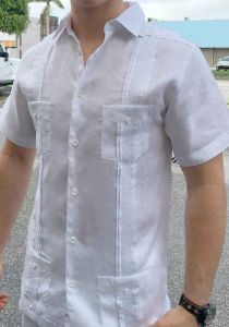 Beautiful Linen 100% Shirt. Short Sleeves. Fashion style. Miami Design. White Color.