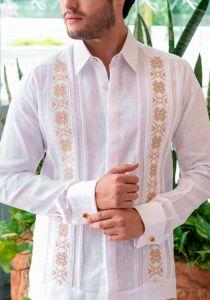 Casual Finest Linen Shirt. Bright Color Guayabera. Linen 100 %. White / Orange Color. Back Orders or Demand.