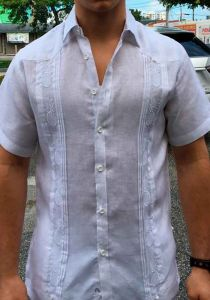 Short Sleeves Shirt with Pineapple Embroidery. White Color.