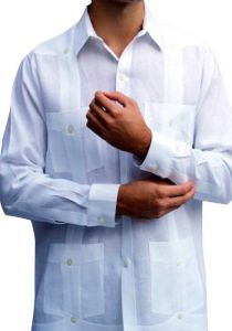 Classic Genuine Cuban Guayabera. D' Accord Linen. Long Sleeve. Premium Linen. White Color.