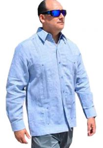 DACCORD Limited Edition Guayabera Long Sleeve. Pure Linen 100 %. Blue Color.