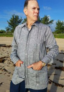 DACCORD Limited Edition Guayabera Long Sleeve. Pure Linen 100 %. Gray Color.