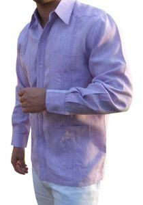 DACCORD Limited Edition Guayabera Long Sleeve. Pure Linen 100 %. Lilac Color.