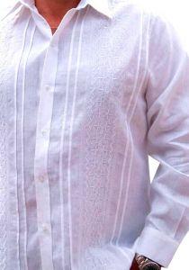 No pockets wedding Guayabera shirt. Long Sleeve. Linen. D'accord. White Color.