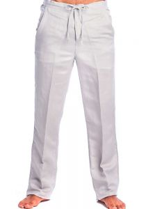 Drawstring Pants for Men Linen Look. Light Gray Color.