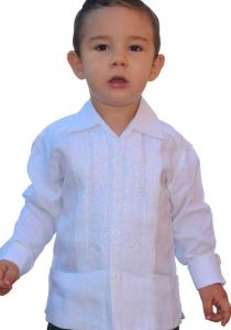Linen 100 % Guayaberas Long Sleeve for Kids. UNIQUE US! High Quality Embroidered. Back orders.