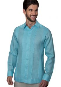 No pocktes with Pleats Guayabera Slim Fit. High Quality Shirt. Linen Premium. Aqua Color. Back Orders or Demand.