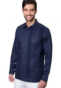 No pocktes with Pleats Guayabera Slim Fit. High Quality Shirt. Linen Premium. Double Eyelet for use Cufflinks. Navy Color. Back Orders or Demand.
