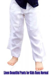 White Drawstring Boys Linen Pants. Linen
