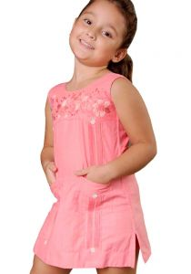 Girls Guayabera Dress. Beautiful Dress. Party Linen Dress. Wedding. High Quality. Linen 100 % BACK ORDER. Any Color. Soft Coral Color.