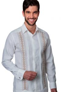 Deluxe Guayabera Slim Fit Guayabera Shirt with fine details Embroidery. Slim Fit. White/Beige Color.