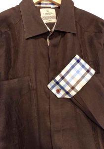 Guayabera Two Pockets. italian Linen. Exquisite Design. French CuFF. On demand.