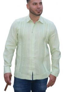 Formal Linen Shirt. Horizontal Pleats. High Quality Shirt. Premium Linen. Lime Color. Back Orders or Demand.