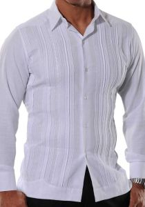 Formal Guayabera Style with Tucks. Italian Linen. Exquisite Embroidered Design. White Color. Back Orders or Demand.