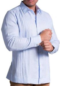 Guayabera Pleats for men Linen Blue