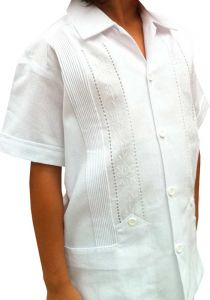 Crude Cotton Guayabera Style for KIDS. Mexican Guayabera. Two Pockets. Manta Lavada. Short Sleeve. Back orders.