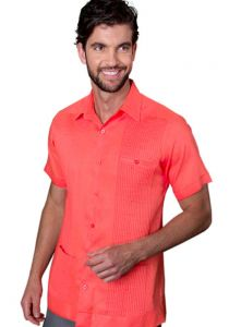 Deluxe Linen Shirt. High Quality. 100% Linen. Short Sleeves. 3 Pocktes Coral Color. Back Orders or Demand.