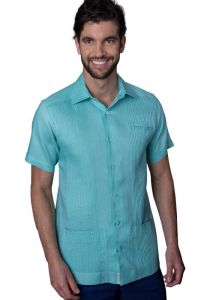 Deluxe Linen Shirt. High Quality. 100% Linen. Short Sleeves. 3 Pockets. Mint Color.  Back Orders or Demand.