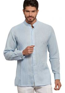 Chinese Collar Shirt. Wedding Style. Collar - MAO. Hidden Buttons. Italian Premium 100 % Linen. Double Eyelet for use Cufflinks. Blue Color. Back Orders or Demand.
