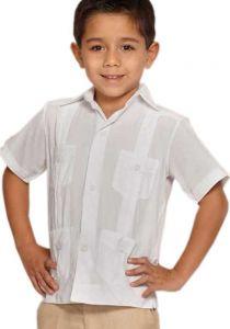 MEXICAN GUAYABAERA SHIRT FOR KIDS WHITE. LINEN 100 %