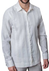 Formal Guayabera Tucks Shirt. Pleats Exquisite Design. Hidden Buttons. Back Order. White Color.
