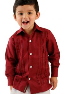 Formal Guayabera Shirt for Kids. Pleats Exquisite Design. Linen 100 %. Back Orders or Demand. RUN SMALL. Wine Color.