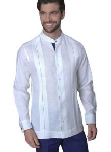 Mao Collar Linen Guayabera. No pockets. Deluxe party Guayabera. Pure Linen. High Quality. Double Eyelet for use Cufflinks. Feature in Navy Blue
