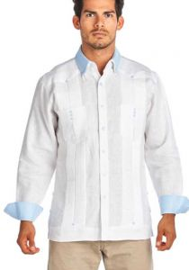 Two Pocktes Guayabera French Cuff. 3 Buttons Guayabera. White/LTBlue Color. Back Orders or Demand. Slim Fit