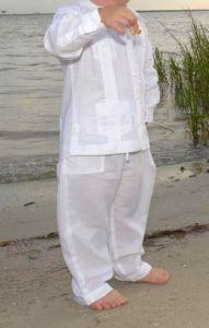 Set Guayabera Shirt Cuban Four Pockets. Long Sleeve. Spanish Linen. Drawstring Boys Linen Pants. Back order or Demand. White Color.