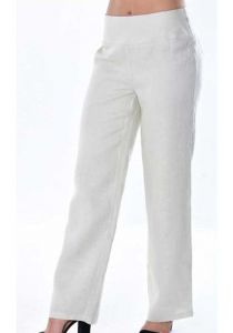 Pants for ladies adjustable waist with elastic. Beautiful fit. Natural Color.