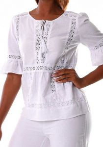 Beautiful blouse with Lace.  Sleeves 3/4. Perfect Fit. Runs Normal. Party Blouse. Plus Size. White color.