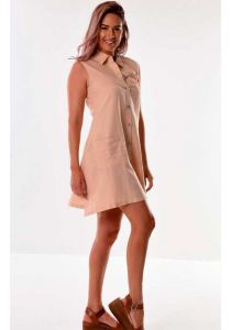 Casual Sleeveless Dress. Two  Pockets. Beige color.