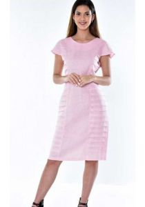 Linen Party Dress. Perfect Fit. Pleats on the Side. High Quality Dress. Linen Dress with Pleats. Pink Color.